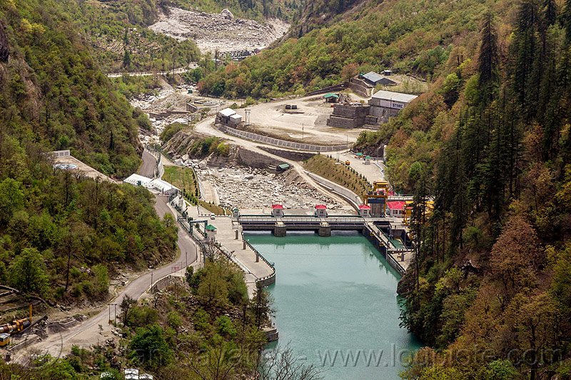 vishnu-prayag hydro project dam (india), alaknanda river, alaknanda valley, hydro-electric, india, mountains, vishnuprayag dam, vishnuprayag hydro project