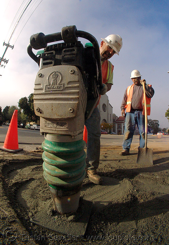 wacker - rammer - tamper - jumping jack, construction workers, fisheye, groundwork, jumping jack, man, pg&e, plate compactor, power tool, preparation, rammer, road construction, road maintenance, roadworks, tamper, wacker, working