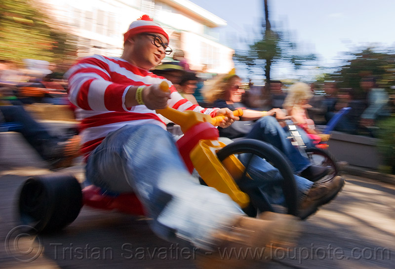 "waldo costume - BYOBW - ""bring your own big wheel"" race - toy tricycles (san francisco), big wheel, byobw 2011, drift trikes, moving fast, potrero hill, race, speed, speeding, toy tricycle, toy trike, trike-drifting, waldo, wally"
