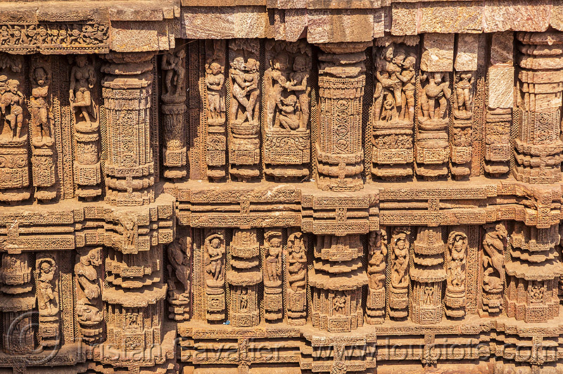 wall with erotic sculptures - konark sun temple (india), carving, erotic sculptures, high-relief, hindu temple, hinduism, konark sun temple, maithuna, stone