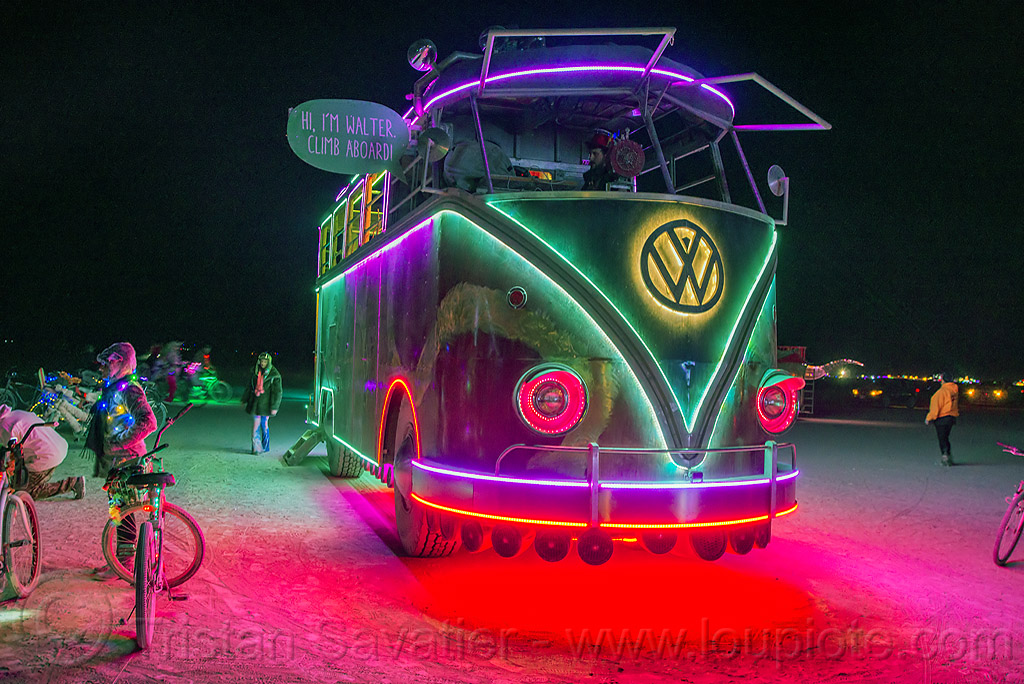 walter - giant VW bus - burning man 2016, art car, burning man, giant, glowing, minibus, night, project walter, riesenbus, volks wagen, vw bus, walter the bus