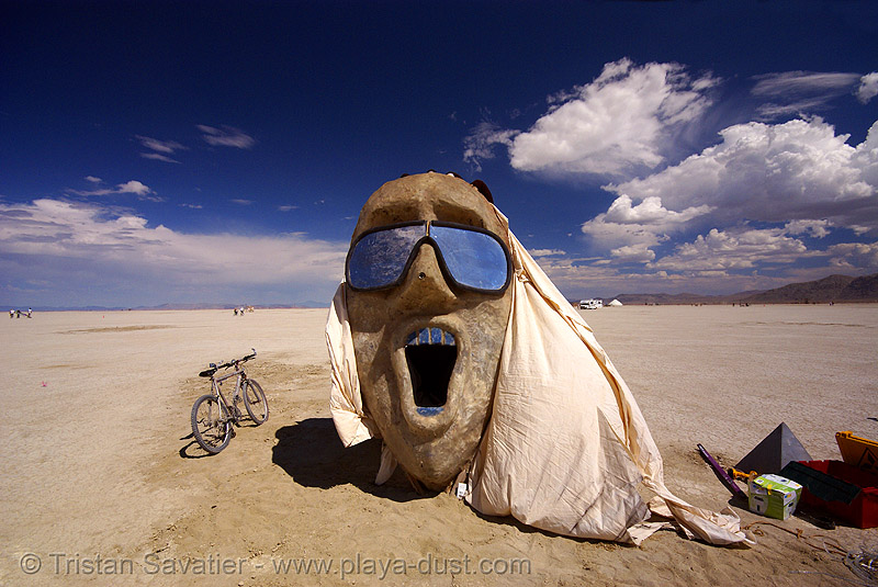 the warning! - burning man 2007, art, art installation, bicycle, bike, giant head, sunglasses, the warning!
