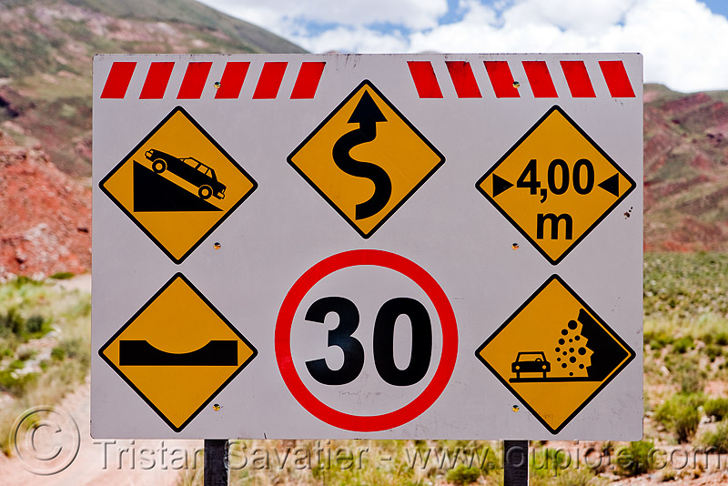 warning road signs, abra el acay, acay pass, argentina, danger, lozenge, noroeste argentino, road sign, round, warning