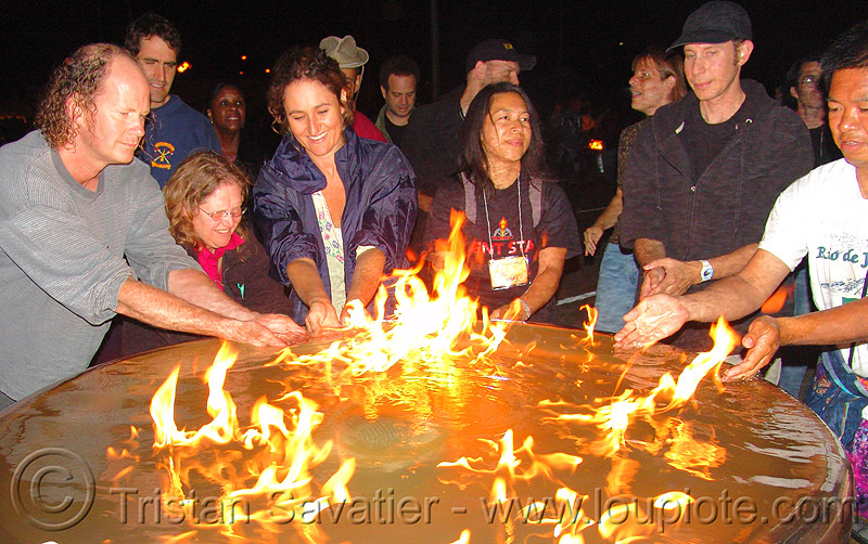 water and fire, art, burning, fire art, fire arts festival, fire fountain, flames, people, pyroboy, the crucible