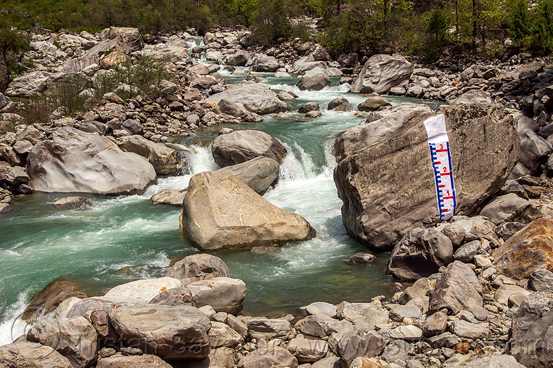 "water level ""staff gauge"" painted on huge boulder in mountain stream (india), alaknanda river, alaknanda valley, flowing, hydrometric, mountains, painted, staff gauge, water level, whitewater"