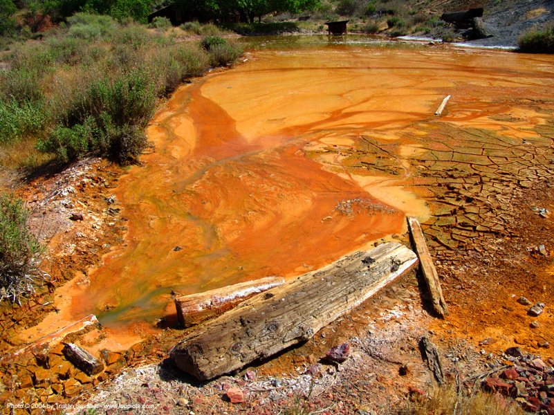 water pollution - environment - mercury, environment, mercury pollution, mine drainage, new idria, orange, pond, water