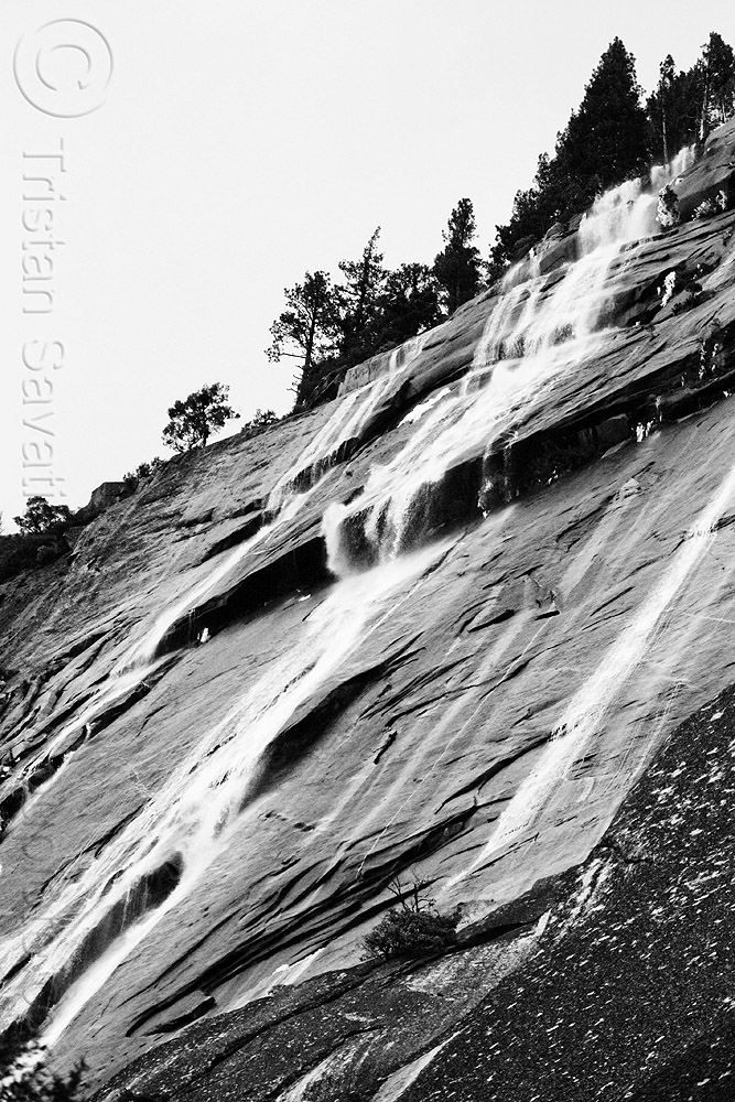 waterfalls on rock face (yosemite), cascade, cliff, falls, mountain, rock face, water, waterfall, winter, yosemite national park