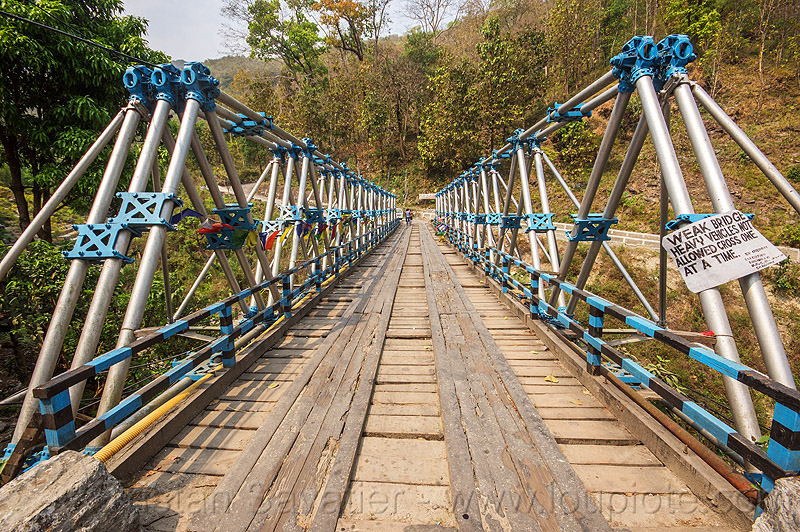 weak bridge - single-lane truss bridge (india), infrastructure, metal, road, single lane, west bengal