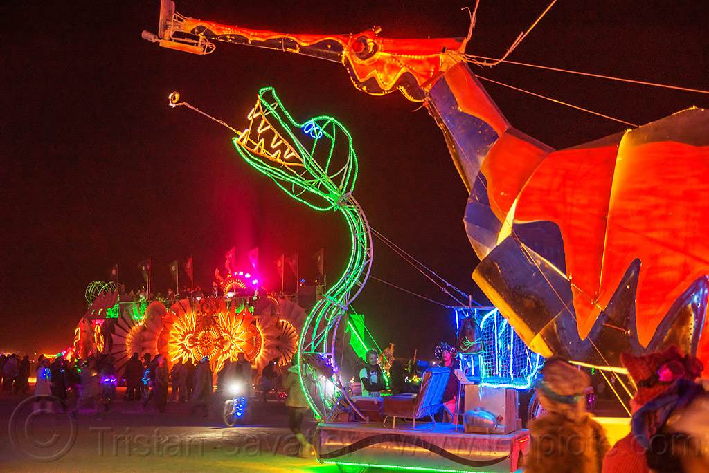 weedy sea dragon art car - burning man 2016, art car, burning man, glowing, gps camp, hypocampus, leafy sea dragon, night, seadragon, seahorse