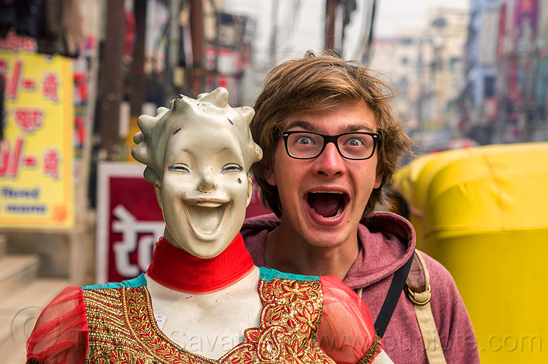 weird couple - guy with smiling store dummy, dummy head, india, laughing, man, mannequin, mouth, store dummy, varanasi