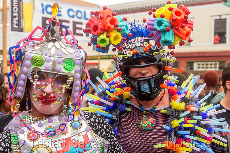 weird futuristic color plastic costumes (san francisco), costumes, folsom street fair, headdress, headwear, helmet, men, plastic