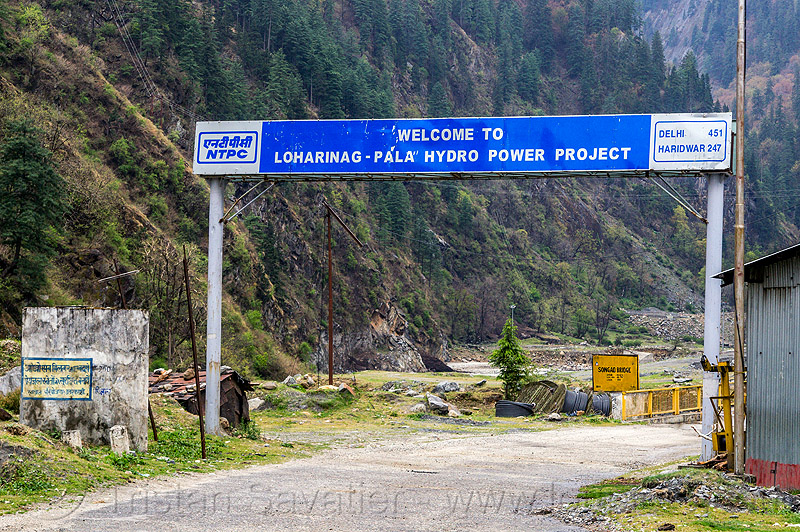 welcome to loharinag-pala hydro power project (india), bhagirathi valley, hydro electric, infrastructure, road, sign
