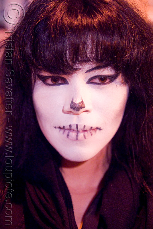 white face paint - dia de los muertos - halloween (san francisco), day of the dead, dia de los muertos, face painting, facepaint, halloween, makeup, night, woman