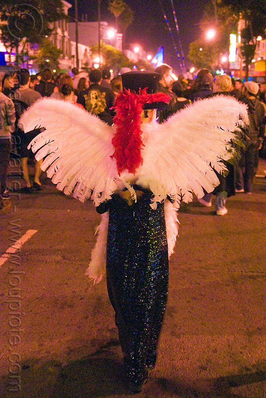 white feathers angel wings - dia de los muertos - halloween (san francisco), angel costume, day of the dead, face painting, facepaint, makeup, night, people, woman
