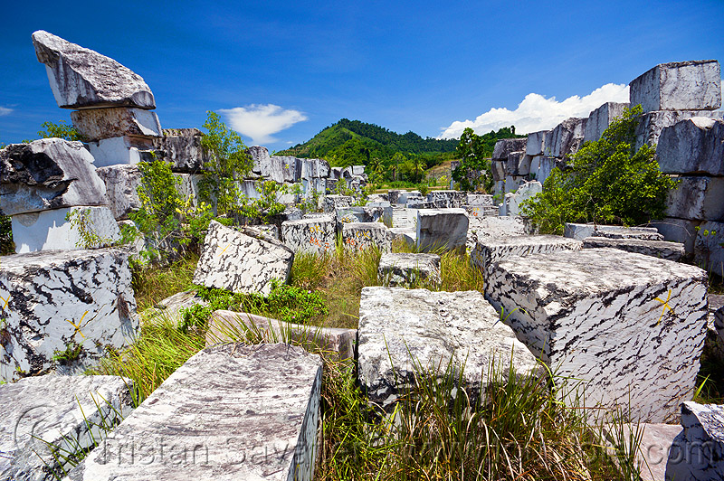 white marble blocks, field, stone, stone quarry