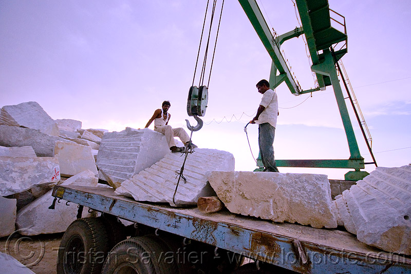 white marble - production quarry - portal crane (india), blocks, cable, gantry crane, hook, india, marble, portal crane, pulley