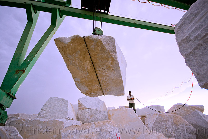 white marble - production quarry - portal crane (india), blocks, gantry crane, people