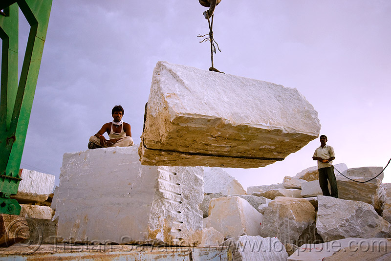 white marble - production quarry - portal crane (india), blocks, people