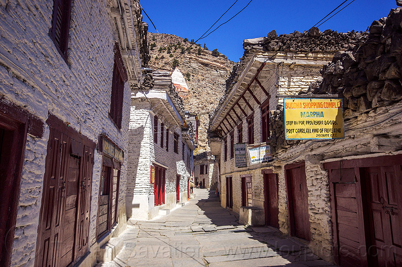 whitewashed houses - main street - buddha shopping complex (nepal), annapurnas, kali gandaki, kali gandaki valley, marpha, painted, village, white