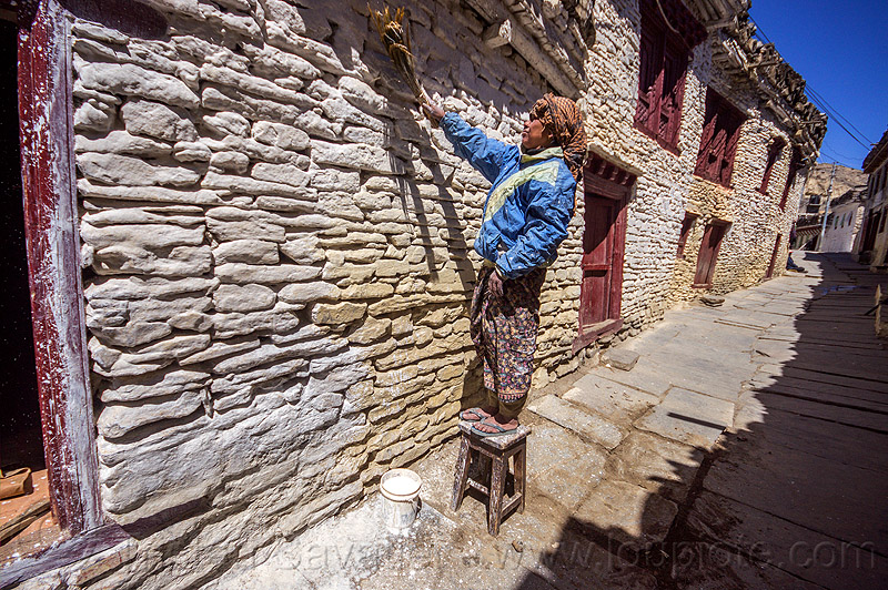 whitewashed stone house - marpha (nepal), annapurnas, houses, kali gandaki valley, marpha, painted, painting, village, white, whitewashed, woman