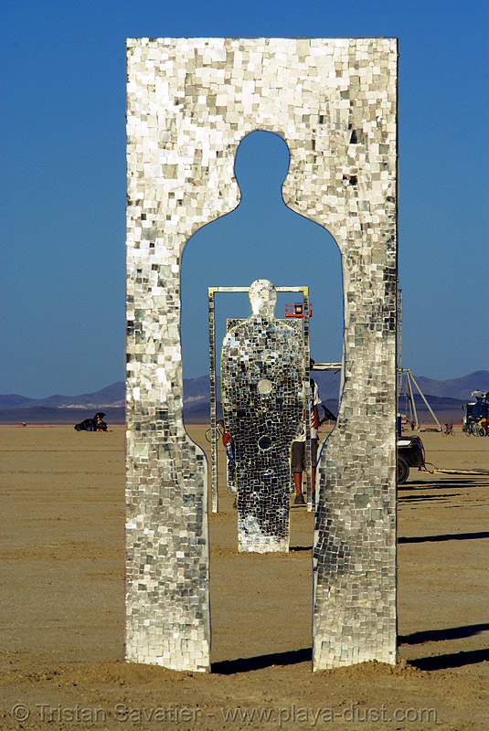 who are you now? - burning man 2007, art installation, burning man, mirrors, mosaic, sculpture, silhouette