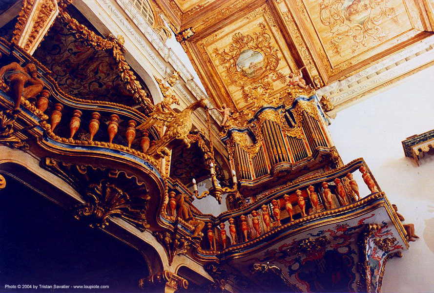 wind organ in santo antonio church, tiradentes (brazil), balcony, baroque, brazil, church, interior, minas gerais, santo antonio, tiradentes, wind organ