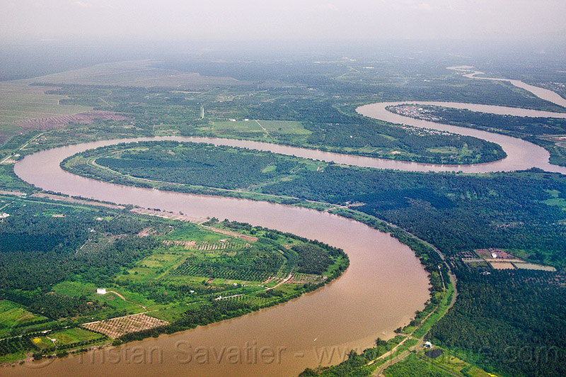 winding river - meanders, aerial photo, bend, curves, curvy, muddy, tropical, water
