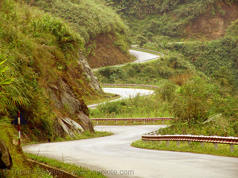 winding road in the mountain (vietnam), curves, mountain road, turns, vietnam, winding road, zig zag