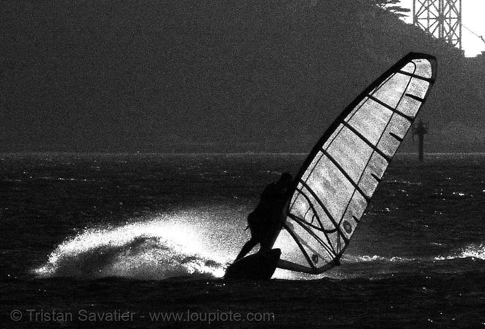 windsurfer (san francisco), backlight, crissy field, jibe, sail, windsurf, windsurfer, windsurfing