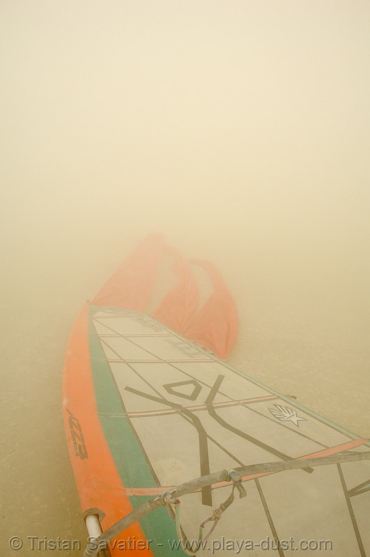 windsurfing in the dust storm - burning-man 2006, burning man, dust storm, land surfing, playa dust, sail, whiteout, windsurfing