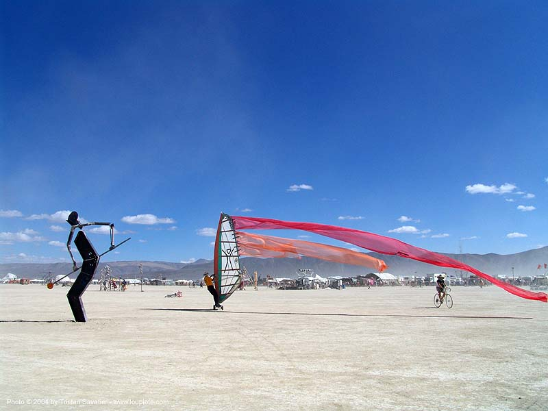 windsurf-burning-man-2004 - landsailing, art, burning man, people, sailing, speedsail, speedsailing, streamer flags, streamers, street sailing, windsurfing