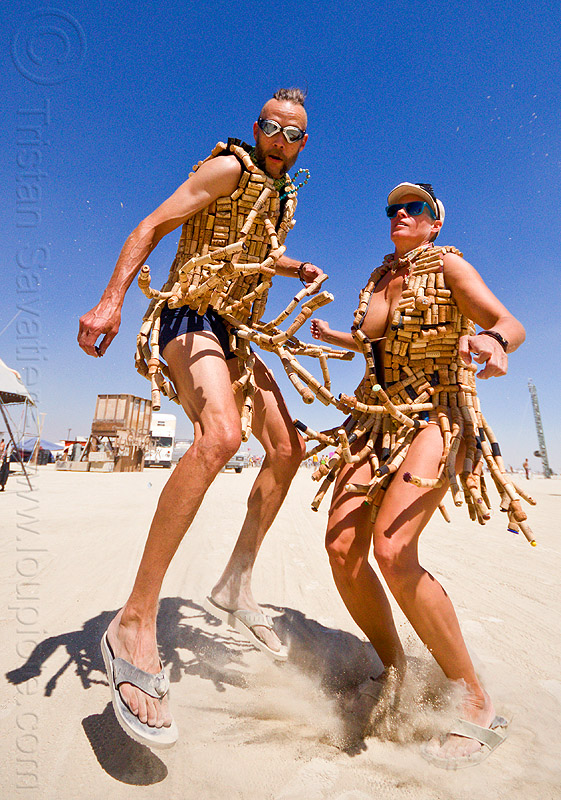 wine corks costumes - burning man 2012, cork costumes, costume, couple, goggles, jump, jumpshot, people, woman