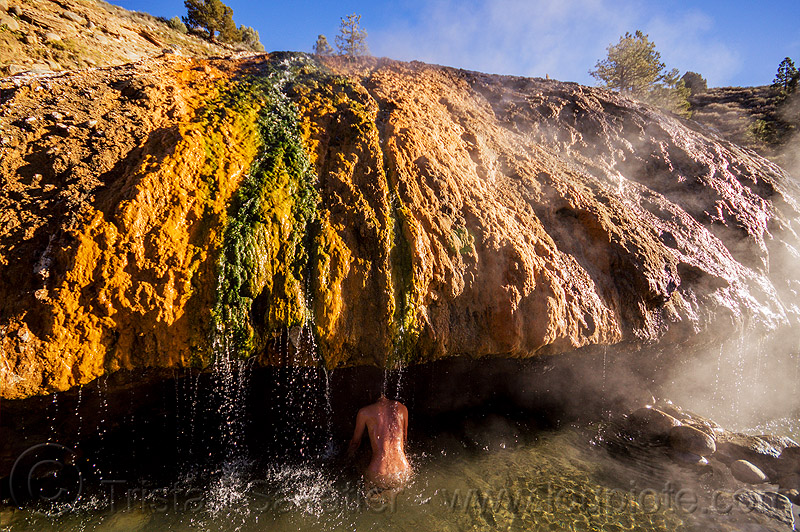 woman at buckeye hot springs (california), bath, bathing, buckeye hot springs, california, concretions, dripping, eastern sierra, naked, nude, pool, rocks, shower, showering, smoke, smoking, steam, stone, water droplets, woman
