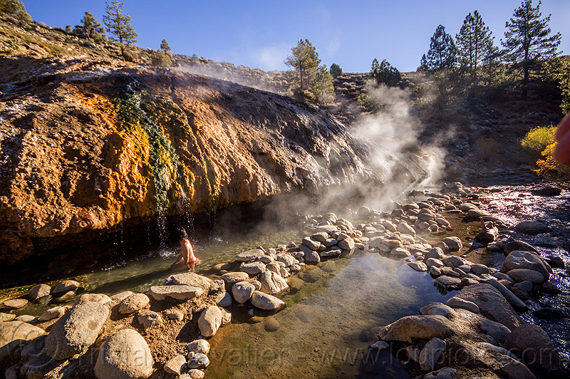 woman bathing in buckeye hot springs (california), bath, bathing, buckeye hot springs, california, concretions, dripping, eastern sierra, naked, nude, pool, river, rocks, smoke, smoking, steam, stone, water, woman