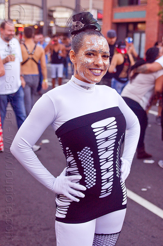woman in white bodysuit - folsom street fair (san francisco), crystal, glittery makeup, woman