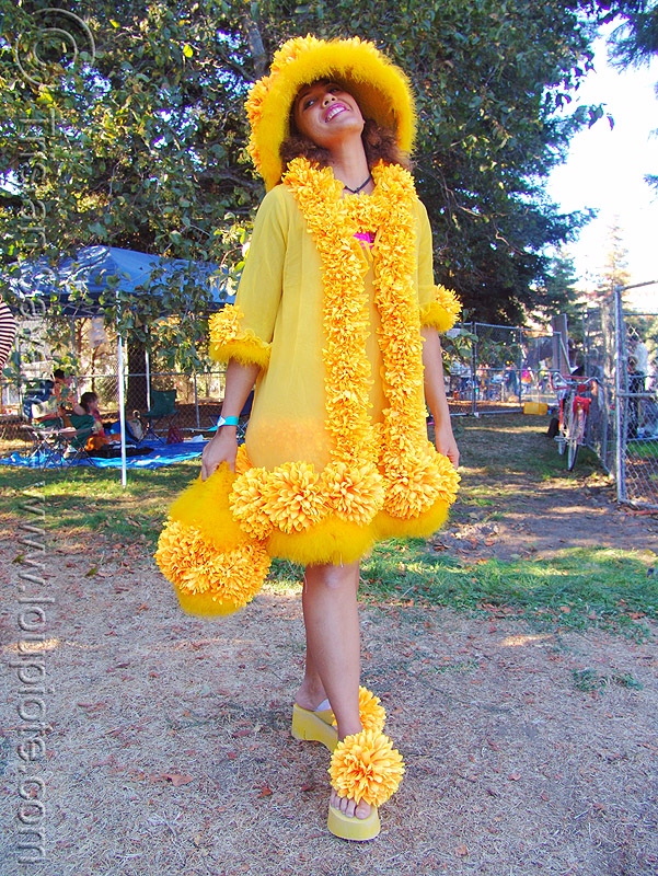 woman in yellow costume - burning man decompression 2005 (san francisco), costume, fashion, flower dress, woman, yellow flowers
