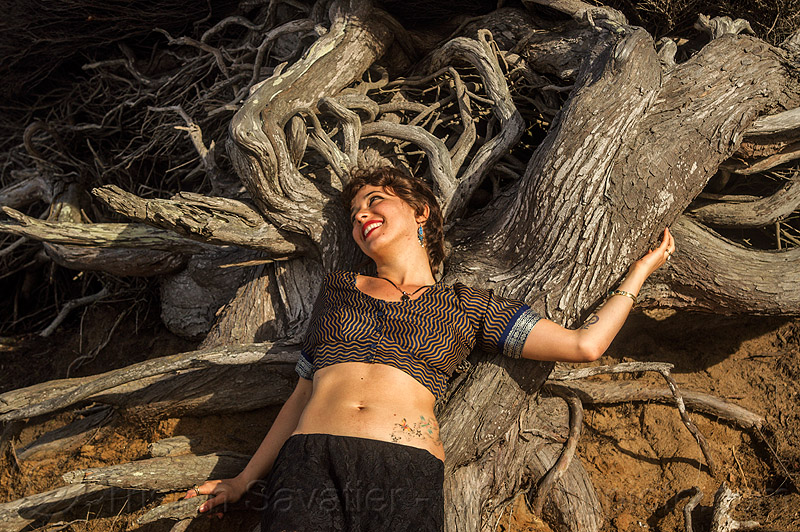woman lying on twisted juniper tree roots, belly tattoo, juniper, lying down, roots, tree, woman, yassmine