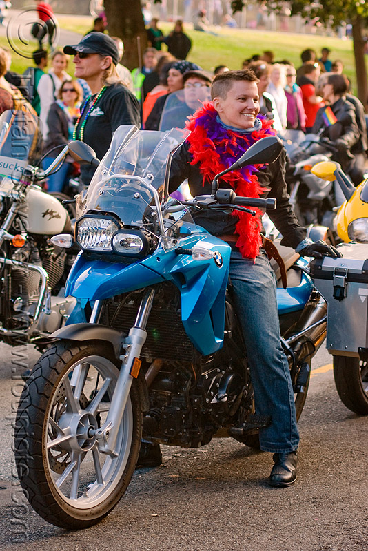 woman on BMW GS 800 motorcycle, bmw, dykes on bikes, gay pride festival, gs 800, motorcycle, parade, rider, riding, woman