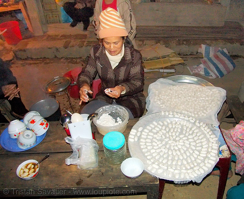 woman preparing local dessert - vietnam, asian woman, bảo lạc, cooking, dessert, hill tribes, indigenous, street food