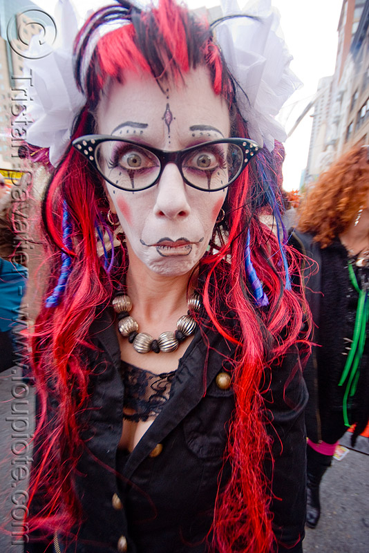 woman - red hair - eyeglasses - face paint - how weird street faire (san francisco), angela, eyewear, face painting, facepaint, how weird festival, people, prescription glasses, spectacles