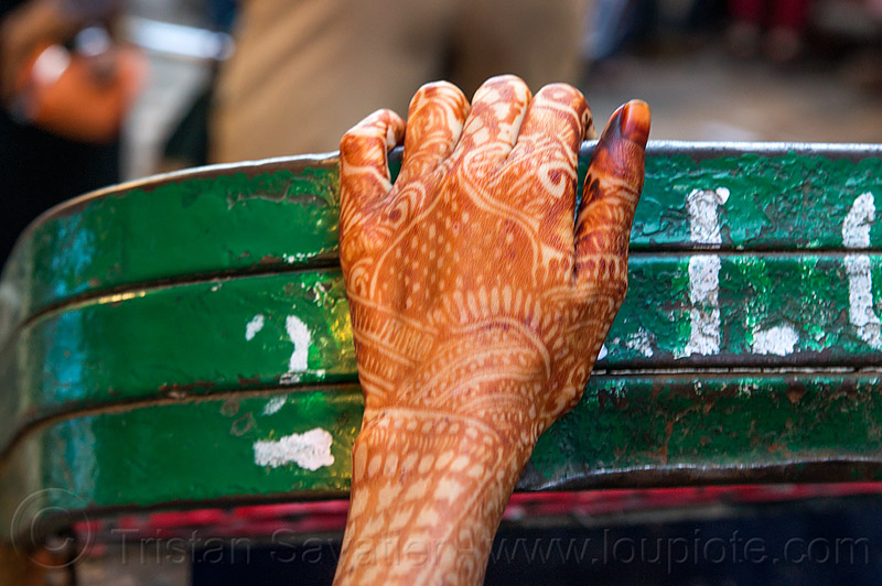 woman's hand with mehndi temporary tattoo (india), body art, delhi, green paint, hand, henna tattoo, india, mehndi designs, temporary tattoo, woman