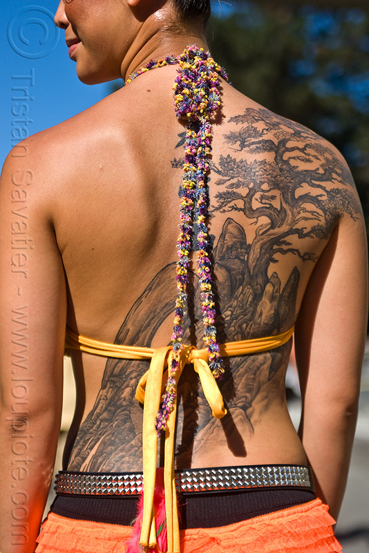 woman with back tattoo - japanese etching style, back piece, burning man decompression, garden tattoo, jane, tattooed, tattoos, woman