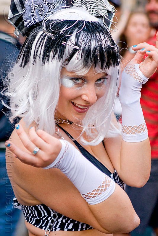 woman with black and white outfit - white wig, black, fashion gloves, headdress, how weird festival, white wig, woman