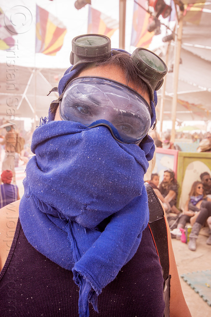woman with blue scarf - burning man 2015, blue scarf, burning man, center camp, dusty, goggles, woman