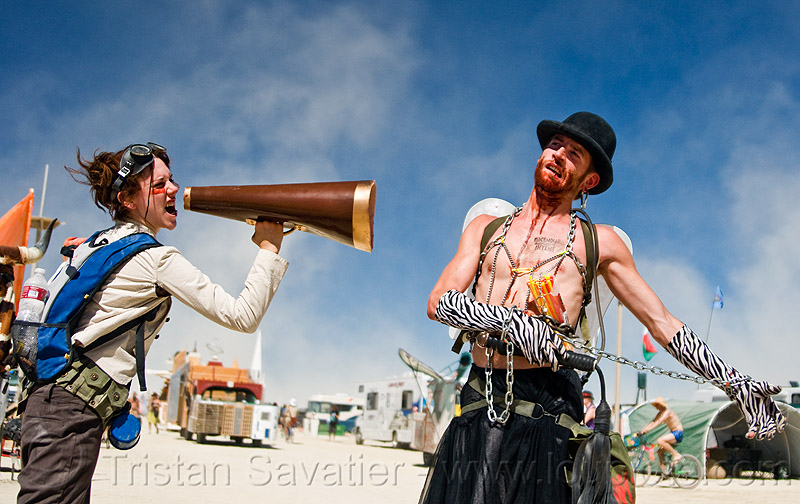 woman with bullhorn, bowler hat, burning man, chain, couple, elfi, goggles, people, zac