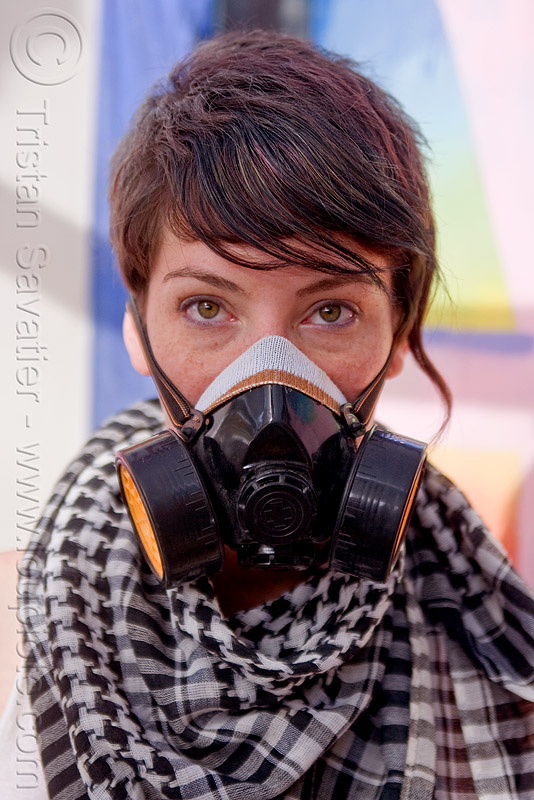 woman with dust mask, 3m respirator, burning man, center camp, dust mask, goggles, hat, michelle, respirator cartridges, scarf, woman