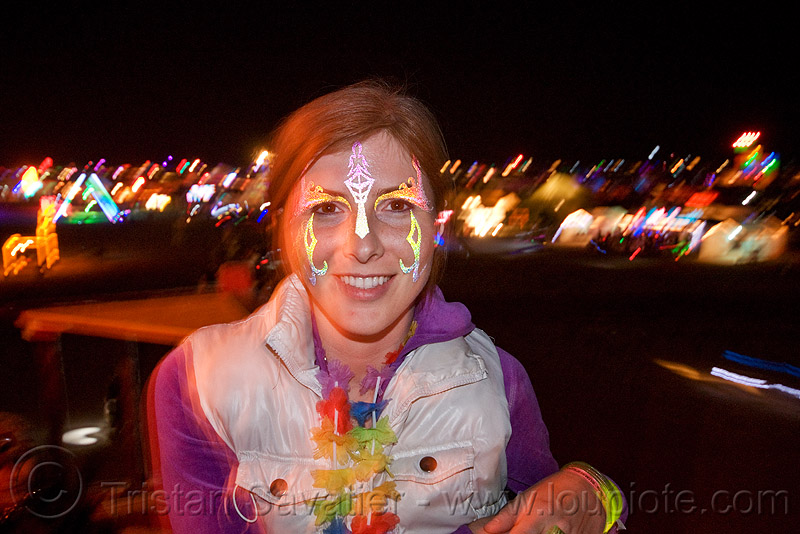 woman with face paint at night - burning man 2010, burning man, facepaint, nicole, night, woman