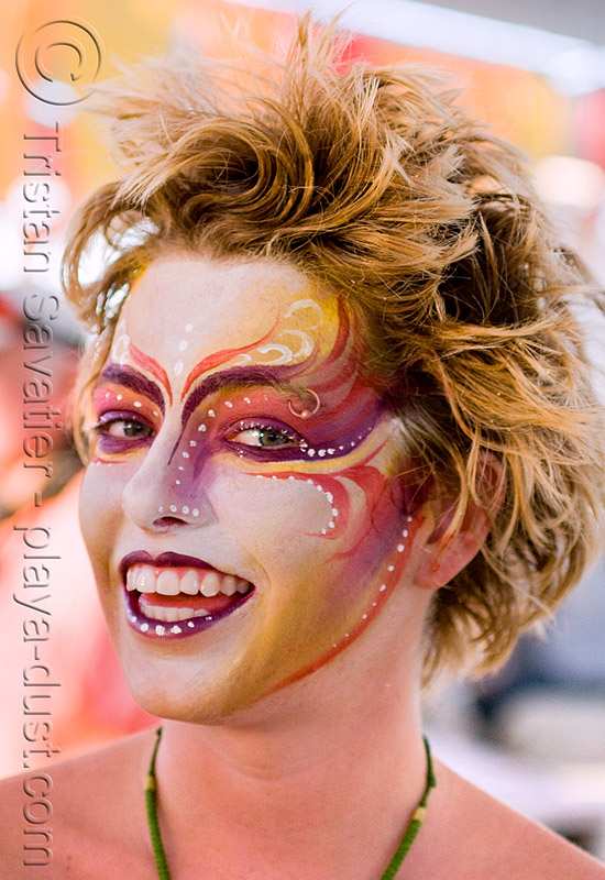 face paint - gabrielle - burning man 2008, body paint, body painting, center camp, makeup, people, woman