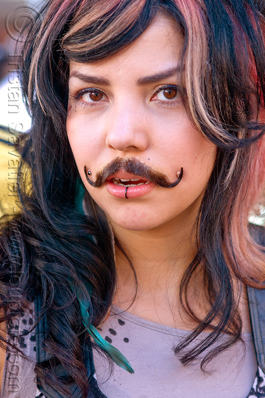 woman with fake moustache - haight street fair (san francisco), fake moustache, fake mustache, false moustache, false mustache, haight street fair, woman