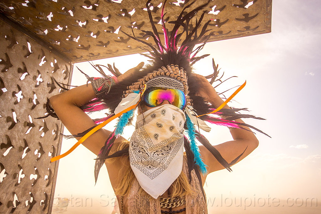 woman with feather headdress - burning man 2015, bandana, dust storm, feathers, people, pia, white out, windy